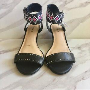 TORRID Black Faux Leather Ankle Strap Sandals